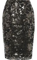 Lela Rose Metallic Coated Lace Pencil Skirt - Lyst