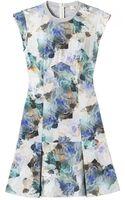 Rebecca Taylor Aqua Printed Drop Waist Dress - Lyst