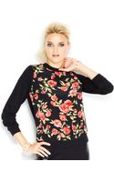 M.a.d.e Fashion Week For Impulse Longsleeve Floralprint Mixedmedia Sweatshirt - Lyst