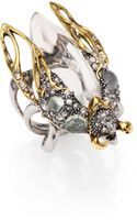 Alexis Bittar Pave Crystal Aqua Crackle Stone Lucite Beetle Cocktail Ring - Lyst