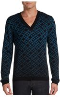 Versace Geometric Ombre V-Neck Sweater - Lyst