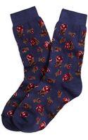 Brooks Brothers Rose Print Crew Socks - Lyst
