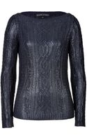 Ralph Lauren Black Label Metallic Silk Boatneck Pullover - Lyst
