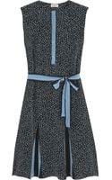 Suno Printed Washed-silk Mini Dress - Lyst