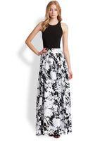 Aidan Mattox Printed Satin Jersey Gown - Lyst