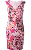 Emilio Pucci Fitted Signature Print Dress - Lyst