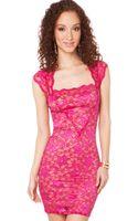 Akira Black Label Square Neck Lace Dress in Fuchsia - Lyst