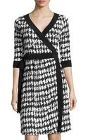 Melissa Masse Herringbone Print Wrap Dress - Lyst