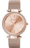Michael Kors Darci Rose Golden Stainless Steel Mesh Watch - Lyst