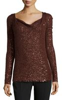 Donna Karan New York Long-sleeve Sequined Top - Lyst