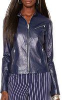 Ralph Lauren Lauren Leather Moto Jacket - Lyst