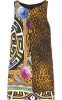 Versace Printed Crepe Mini Shift Dress - Lyst