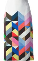 Preen By Thorton Bregazzi Tilda Printed Crepe Pencil Skirt - Lyst
