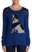 BCBGMAXAZRIA Studded Bulldog Intarsia Sweater - Lyst