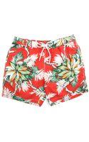 Hartford Flower Red Swim Shorts - Lyst