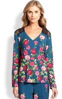 Cosabella Firenze Lace-inset Floral Top - Lyst