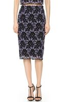 Lela Rose Lace Pencil Skirt Blackviolet - Lyst