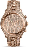 Michael Kors Rose Goldtone Lindley Chronograph Glitz Watch 48mm - Lyst