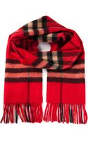 Burberry Bright Vermillion Check Scarf - Lyst
