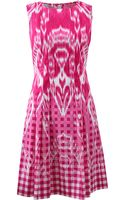 Oscar de la Renta Gingham Ikat Drop Waist Dress - Lyst