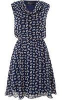 Cutie Cowl Neck Printed Dress - Lyst