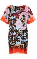 Topshop Berry Paint Print Tunic Dress - Lyst