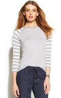 Michael Kors Michael Threequartersleeve Striped Top - Lyst
