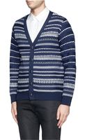 White Mountaineering Contrast Patterned Stripe Wool Cardigan - Lyst