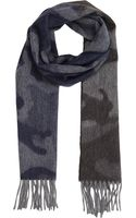 Barneys New York Reversible Camo Jacquard Scarf - Lyst