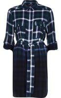 River Island Green Check Dip Dye Shirt Dress - Lyst