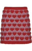 Topshop Plush Heart Knitted Skirt - Lyst