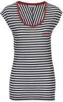 Stefanel Striped Drape Effect Tshirt - Lyst