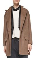 Brunello Cucinelli Wool Blend Coat with Fox Fur Collar - Lyst