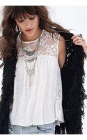 Forever 21 Crochet Lace Linen Tank - Lyst