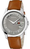 Gucci Gtimeless Collection Stainless Steel and Leather Watch Grey - Lyst