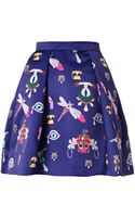 Mary Katrantzou Calculom Symbolprint Satin Mini Skirt - Lyst