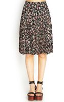 Forever 21 Pleated Floral Midi Skirt - Lyst