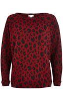 River Island Dark Red Animal Print Batwing Sweatshirt - Lyst