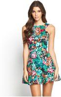 Ax Paris Tropical Print Dress - Lyst