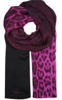 Roberto Cavalli Leopard Print Silk Scarf - Lyst