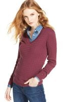 Tommy Hilfiger Cableknit Vneck Sweater - Lyst