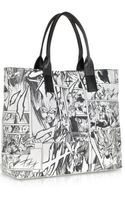 McQ by Alexander McQueen Black and White Manga Print Nappa Leather East West Tote Bag - Lyst