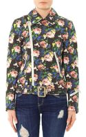 MSGM Floralprint Cotton Biker Jacket - Lyst