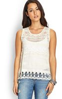 Forever 21 Crochet Lace Chiffon Top - Lyst