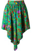 Yves Saint Laurent Vintage Pleated Floral Print Skirt - Lyst