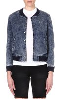 Boy London Stretch Denim Bomber Jacket Blue - Lyst