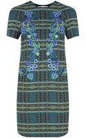 Matthew Williamson Tartan Blanket Embroidered Shift Dress - Lyst