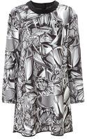Giles Monochrome Satin Crepe Mini Dress - Lyst
