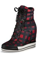 DKNY Griffin Plaid Wedge Sneaker - Lyst