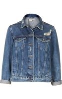 Topshop Moto Vinate Wash Denim Jacket - Lyst